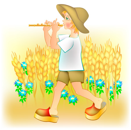 Illustration du petit garçon jouant de la pipe, image de dessin animé de vecteur.