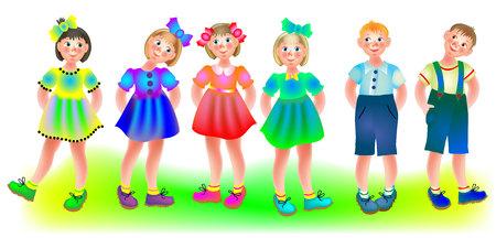 Illustration of six standing children, vector cartoon image.
