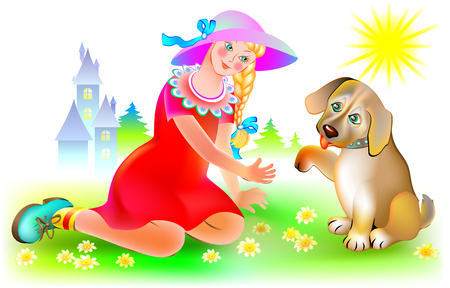 Puppy gives paw to the girl, vector cartoon image. Vettoriali