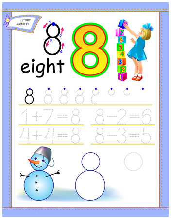 Educational page for kids with number 8. Solve mathematical examples. Printable worksheet for children textbook. Developing counting and writing skills. Vector cartoon image.