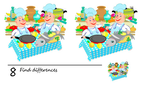 Logic puzzle game for children. Need to find 8 differences. Printable page for baby brainteaser book. Two funny chefs prepare fish in the kitchen. Developing skills for counting. Vector cartoon image.