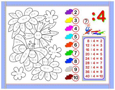 Exercises for kids with division by number 4. Paint the picture. Educational page for mathematics baby book. Printable worksheet for children textbook. Back to school. Vector cartoon image. Illustration