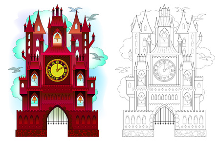 Colorful and black and white pattern of medieval Swiss castle with towers, bells and clocks. Printable worksheet for coloring book for children and adults. Vector cartoon image.