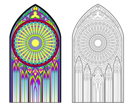 Colorful and black and white image of Gothic stained glass window with beautiful rose in center. Printable worksheet for coloring book for children. Medieval architectural style in Western Europe.