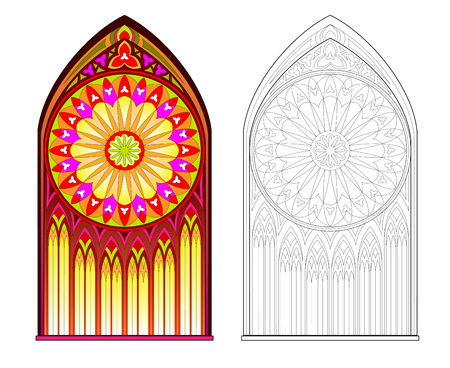 Colorful and black and white pattern of Gothic stained glass window with beautiful rose. Printable worksheet for coloring book. Medieval architectural style in Western Europe. Vector image. Standard-Bild - 120332963