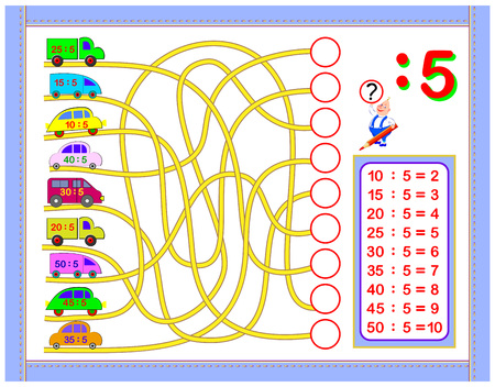 Ejercicios para niños con división por número 5. Pinta el dibujo. Página educativa para el libro de matemáticas para bebés. Hoja de trabajo imprimible para libros de texto para niños. De vuelta a la escuela. Imagen de dibujos animados de vector. Ilustración de vector