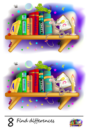 Logic puzzle game for children. Need to find 8 differences. Printable page for baby brainteaser book. Curious mouse is reading at night on bookshelf. Developing counting skills. Vector cartoon image. 向量圖像