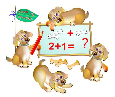 Ilustración de fantasía para niños de lindos cachorros aprendiendo a contar números. De vuelta a la escuela. Funda para libro de texto escolar para niños. Imagen de dibujos animados vectoriales imprimibles. Ilustración de vector