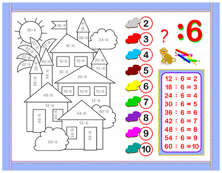 Exercises for kids with division by number 6. Paint the picture. Educational page for mathematics baby book. Printable worksheet for children textbook. Back to school. Vector cartoon image. Ilustração