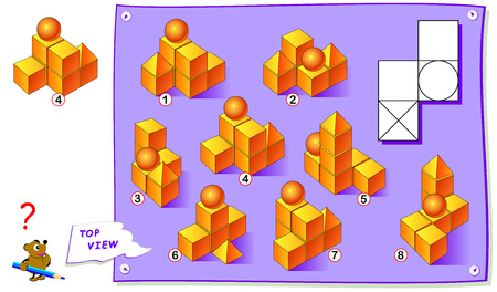 Logic puzzle game for kids. Find which construction of geometric figures corresponds to the top view on drawing. Printable page for brainteaser book. Development of children spatial thinking skills.