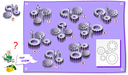 Logic puzzle game for kids. Find which construction of gears corresponds to the top view on drawing. Printable page for brainteaser book. Development of children spatial thinking skills.