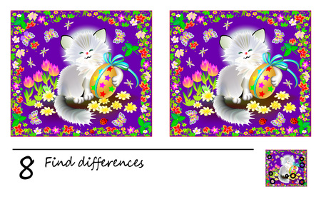 Logic puzzle game for children. Need to find 8 differences. Printable page for baby brainteaser book. Cute kitten holding Easter egg. Developing skills for counting. Vector cartoon image.