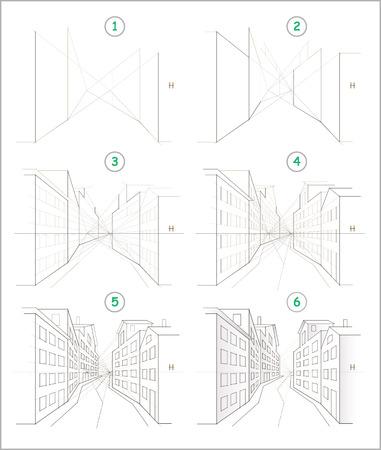 La page montre comment apprendre étape par étape pour créer un dessin au crayon d'une rue sinueuse de la ville avec des maisons en perspective. Développer les compétences des enfants à dessiner. Retour à l'école. Feuille de travail imprimable pour les enfants. Vecteurs