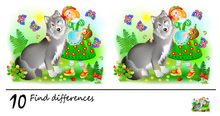Logic puzzle game for children. Need to find 10 differences. Printable page for baby brainteaser book. Little Red Riding Hood and the Wolf. Developing skills for counting. Vector cartoon image. Иллюстрация