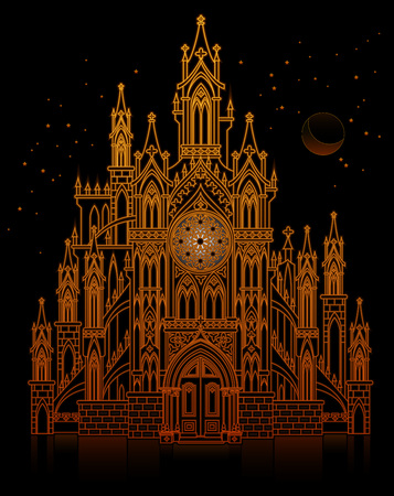 Illustration of fantasy fairyland medieval castle at night. Gothic architectural style with pointed arch. Cover for baby fairy tale book. Modern print. Middle ages in Western Europe. Vector image.  イラスト・ベクター素材