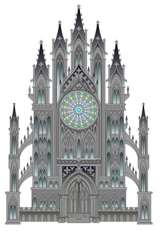 Silhouette of fantasy fairyland medieval cathedral on a white background. Gothic architectural style with beautiful rose and stained glass windows. Modern print. Middle ages in Western Europe. Standard-Bild - 121527958