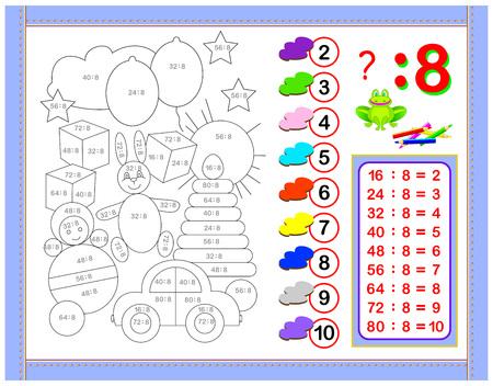 Ejercicios para niños con división por el número 8. Pinta el dibujo. Página educativa para el libro de matemáticas para bebés. Hoja de trabajo imprimible para libros de texto para niños. De vuelta a la escuela. Imagen de dibujos animados de vector.