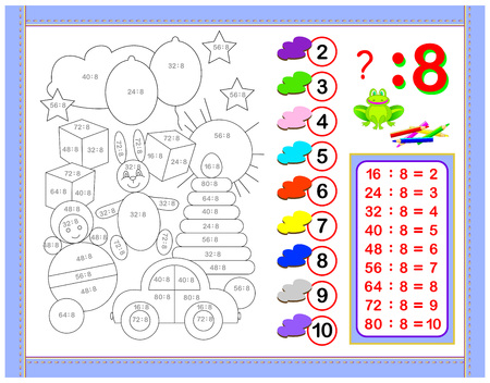 Exercises for kids with division by number 8. Paint the picture. Educational page for mathematics baby book. Printable worksheet for children textbook. Back to school. Vector cartoon image.