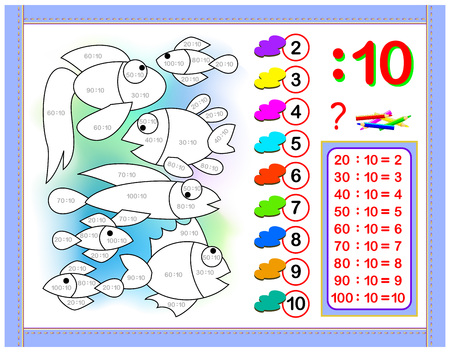 Exercises for kids with division by number 10. Paint the picture. Educational page for mathematics baby book. Printable worksheet for children textbook. Back to school. Vector cartoon image.