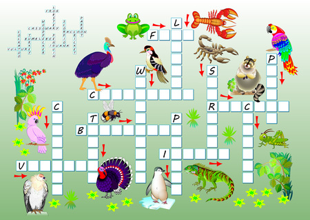 Crossword puzzle game with funny animals. Educational page for children for study English words. Printable worksheet for brainteaser book. Vector cartoon image.