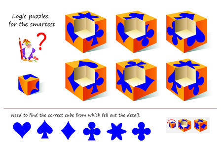Logic puzzle game for smartest. Need to find the correct cube from which fell out the detail. Printable page for brainteaser book. Developing spatial thinking skills. Vector cartoon image.