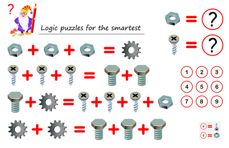 Mathematical logic puzzle game for smartest. Solve examples and count which of numbers corresponds to each of detail. Printable page for brainteaser book. Developing spatial thinking. Vector image.