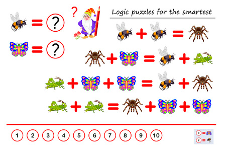 Mathematical logic puzzle game for smartest. Solve examples and count which of numbers corresponds to each of insect. Printable page for brainteaser book. Developing spatial thinking. Vector image.