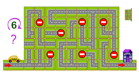 Logic puzzle game with labyrinth. Help the taxi find the way and reach the hotel. Need to rotate 6 squares clockwise. Printable page for brainteaser book. Developing spatial thinking. Vector image.