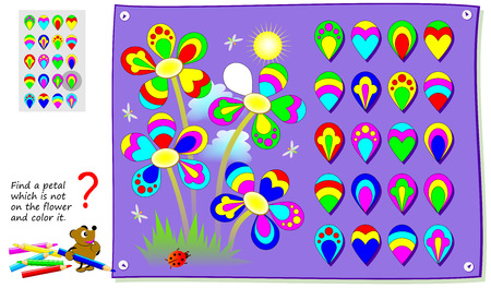Logical puzzle game for kids. Find a petal which is not on flower and color it. Printable page for baby periodical journal. Developing children skills for drawing and coloring. Vector cartoon image.