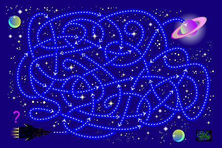Logical puzzle game with labyrinth for children and adults. Help the spaceship find the way in the universe till the planet. Printable page for brainteaser book. Vector cartoon image.