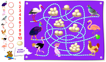 Printable educational page for kids. Count how many eggs each of birds have in their nest. Write the numbers in circles. Worksheet for baby textbook.