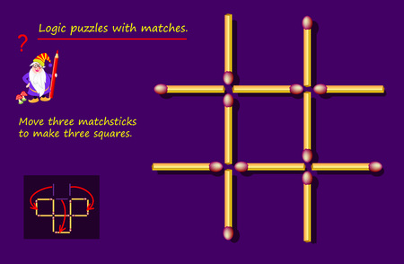 Logical puzzle game with matches. Need to move three matchsticks to make three squares. Printable page for brainteaser book. Developing spatial thinking. Vector image. Ilustração