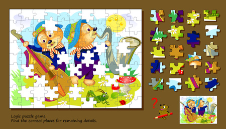 Logic puzzle game for children and adults. Find the correct places for remaining details. Printable page for brainteaser book. Developing spatial thinking. Vector cartoon image.