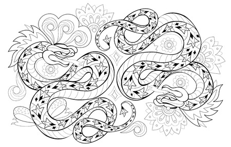 Drawing of couple eastern snakes. Black and white page for coloring book. Printable pattern for modern print, t-shirt, embroidery, Henna, Mehndi, tattoo and decoration. Hand-drawn vector image. Ilustração