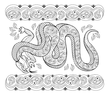 Fantasy drawing of Asian lizard with popular ornament. Black and white page for coloring book. Printable pattern for modern print, t-shirt, embroidery, Henna, Mehndi, tattoo, decoration. Hand-drawn. Ilustração