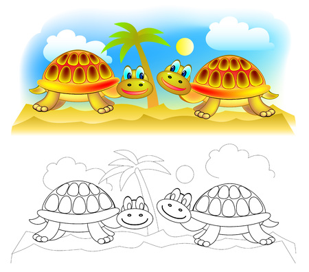 Fantasy illustration of couple cute turtles in desert. Colorful and black and white page for coloring book. Printable worksheet for children and adults. Vector cartoon image. Ilustração