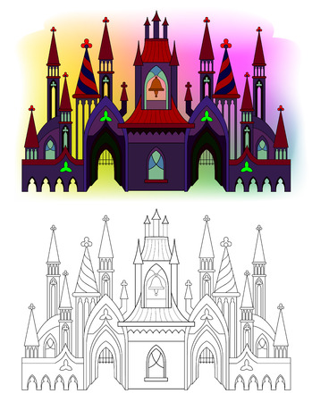 Colorful and black and white pattern of medieval Gothic castle with towers, bells and gates. Printable worksheet for coloring book for children and adults. Vector cartoon image.