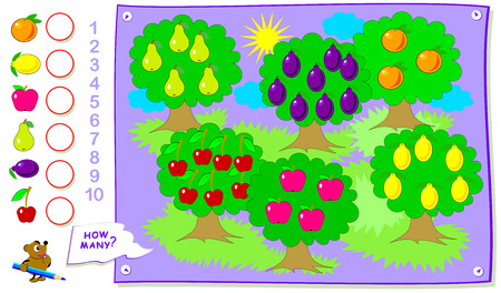Printable educational page for kids. Count the quantity of fruits in the garden and  write the numbers in circles. Worksheet for baby book. Logical puzzle game. Back to school. Ilustração