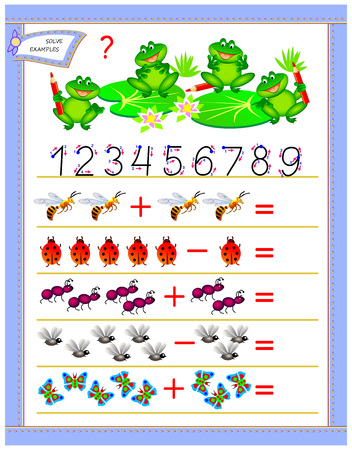 Educational page for children on addition and subtraction. Solve examples, count the quantity  and write numbers. Printable worksheet for kids textbook. Back to school. Vector cartoon image. Ilustração