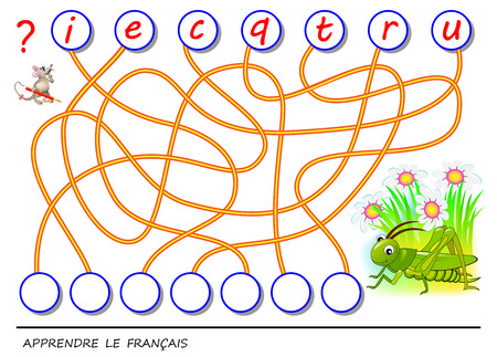 Logic puzzle game for study French language with cute cricket. Find the correct places for letters, write them in relevant circles and read the word. Printable worksheet for textbook. Back to school. Ilustração