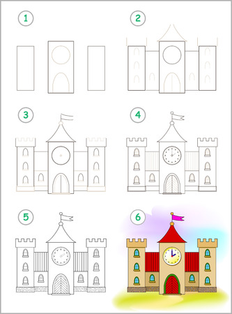 Page shows how to learn step by step to draw cute medieval castle. Developing children skills for drawing and coloring. Back to school. Printable worksheet. Vector cartoon image.