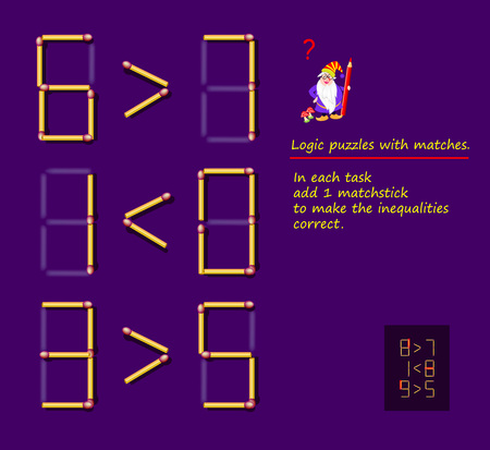 Logical puzzle game with matches. In each task add 1 matchstick to make the inequalities correct. Printable page for brainteaser book. Developing spatial thinking. Vector image. Ilustração