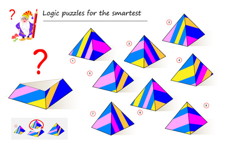 Logic puzzle game for smartest. Need to find the correct detail which fell down from the pyramid. Printable page for brainteaser book. Developing spatial thinking skills. Vector cartoon image. Ilustração
