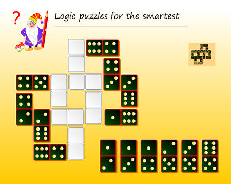 Logic puzzle game for smartest. Need to find places for remaining dominoes and draw them correctly. Printable page for brainteaser book. Developing spatial thinking. Vector image.