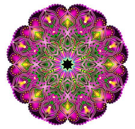 Fantasy Latin American ornament done in kaleidoscopic style. Modern print. Geometric circle vector image.