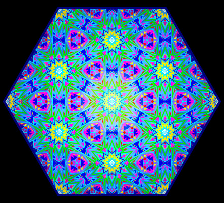 Fantasy eastern ornament done in kaleidoscopic style. Hexagon made from fractals. Geometric circle vector image.