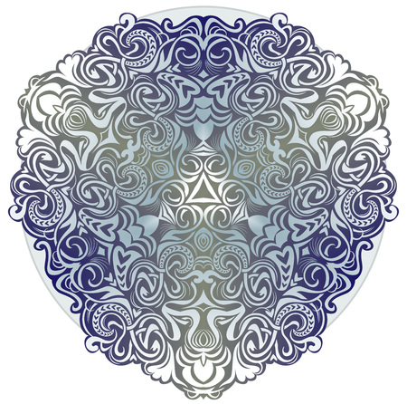Fantastic ornament done in kaleidoscopic style. Modern print. Geometric circle vector image.
