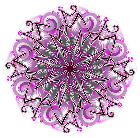 Fantasy Celtic ornament done in kaleidoscopic style. Modern print. Geometric circle vector image.