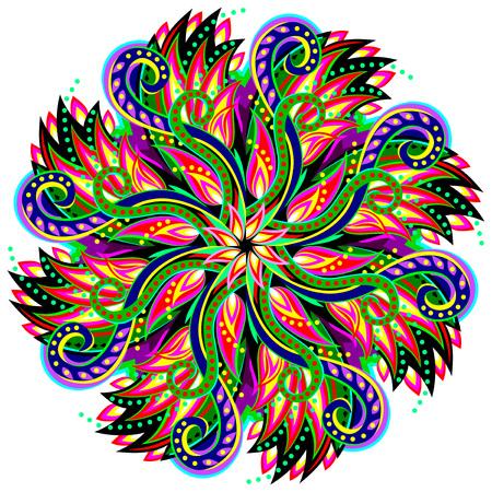 Fantástico adorno en forma de remolino hecho en estilo caleidoscópico. Imagen vectorial de círculo geométrico. Ilustración de vector