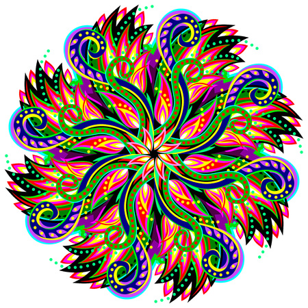 Fantastic swirl ornament done in kaleidoscopic style. Geometric circle vector image. Vettoriali